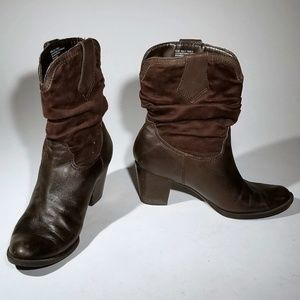 Connie Brown Leather & Suede Boots Size 8.5